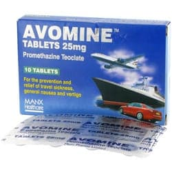 Avomine 10 mal 25mg Tabletten mit Promethazin Verpackung und Blisterpackung