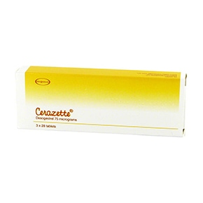 Box of Cerazette desogestrel 75 micrograms tablets