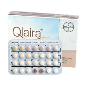 Box of Qlaira oral pills with a blister strip