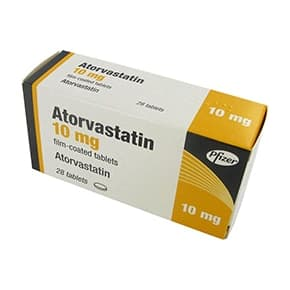 Pack of 28 Atorvastatin 10mg film-coated tablets