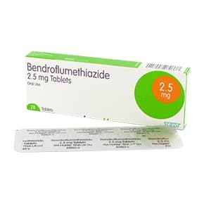 Box of Bendroflumethiazide tablets with a blister strip