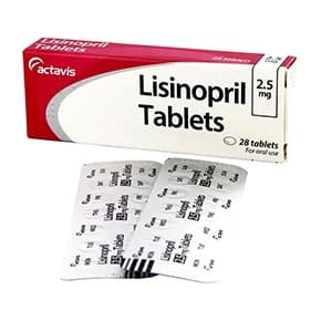 Box of Lisinopril tablets with blister strips