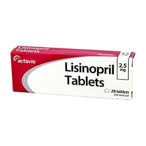 Pack of 28 Lisinopril 2.5mg oral tablets
