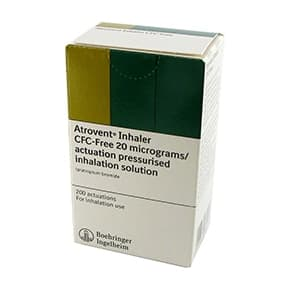Pack of Atrovent Inhaler CFC-Free 20 micrograms/actuation pressurised inhalation solution