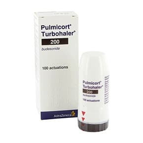 Box of Pulmicort Turbohaler containing 200 micrograms inhaler of 100 actuation