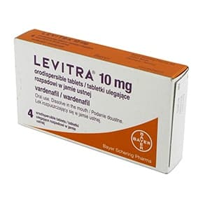 Pack of 4 Levitra vardenafil 10mg orodispersible tablets