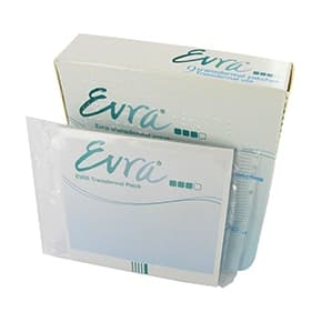 Box and sachets of Evra contraceptive patch