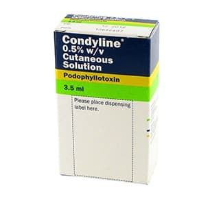 Pack of 3.5ml Condyline 0.5% w/v cutaneous solution of podophyllotoxin