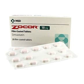 Box of Zocor 10mg tablets with blister packs