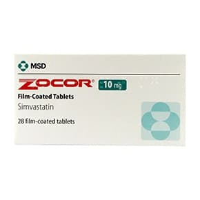Pack of 28 Zocor 10mg simvastatin film-coated tablets