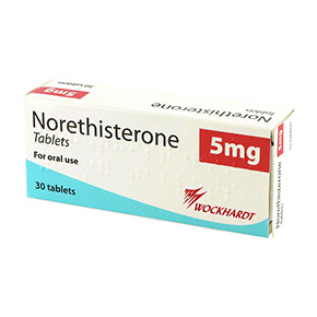 Box of Norethisterone 5mg oral tablets