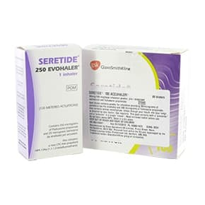 Pack of Seretide 250 Evohaler and Seretide 100 Accuhaler