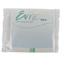 Vue de face du sachet de patch transdermique Evra