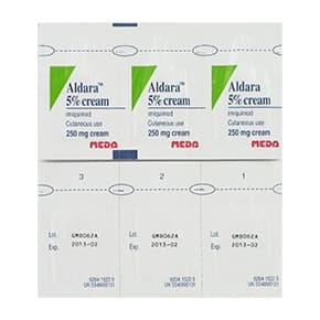 Front and back view of Aldara 5% 250mg cutaneous cream sachets