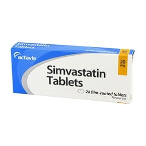 Pack of 28 Simvastatin 20mg film-coated tablets