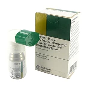 Box of Atrovent (ipratropium bromide) inhalation solution inhaler