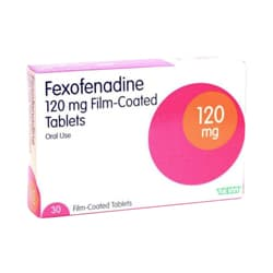 Box of 30 Fexodenadine tablets 120mg
