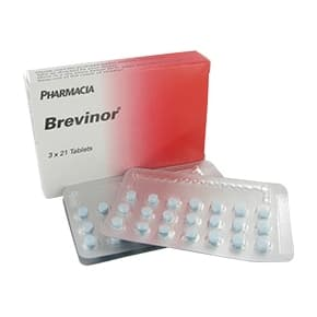 Box of Brevinor pills with blister pack