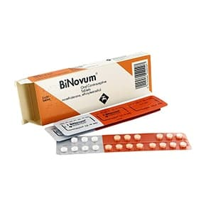 Box of Binovum oral contraceptive tablets with blister packs