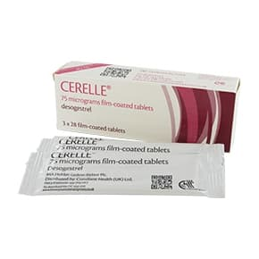 Box of Cerelle 75mcg desogestrel film-coated tablets with blister pack