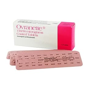 Box of Ovranette containing blister packs of 150/30micrograms coated tablets
