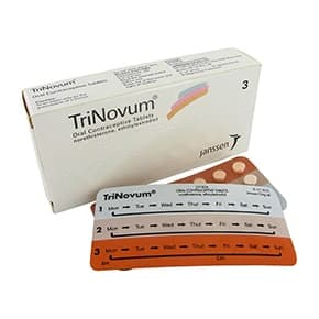 Box of TriNovum tablets with blister pack