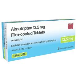 Box of Almotriptan tablets 12.5mg