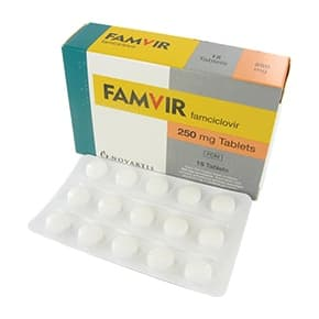Box of Famvir tablets with blister packs