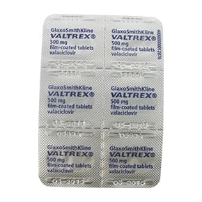 Back view of Valtrex Valaciclovir 500mg film-coated tablets blister pack