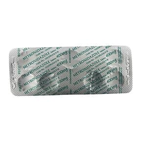 Back view of Metronidazole 400mg tablets blister pack