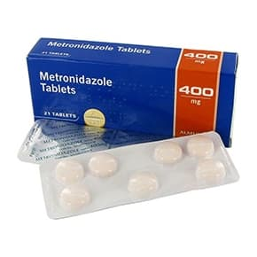 Box of Metronidazole tablets with blister packs