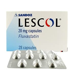 Box of Lescol 20mg capsules with blister pack
