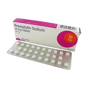 Box of Pravastatin sodium tablets with a blister strip