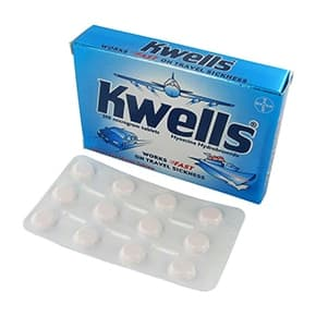 Box of Kwells travel sickness tablets with blister pack