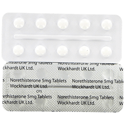 Front and rear view of Norethisterone 5mg tablet blister packs