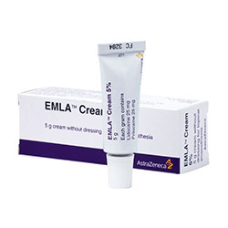 Box of Emla cream 5% (lidocaine/prilocaine) 5g tube