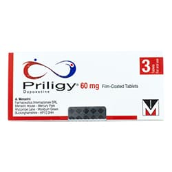 Pack of 3 Priligy 60mg dapoxetine film-coated tablets
