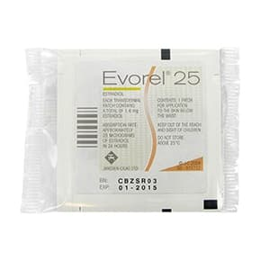 Sachet of Evorel transdermal patch