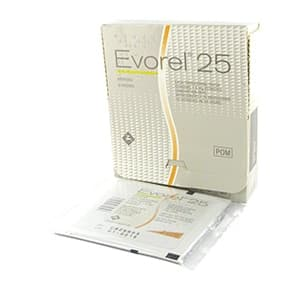Box of Evorel 25 with a sachet