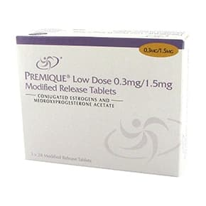 Pack of 84 Premique Low Dose 0.3mg/1.5mg modified-release tablets