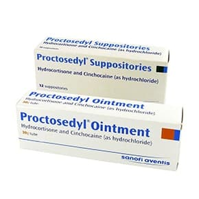 Pack of Proctosedyl Suppositories and Proctosedyl Ointment